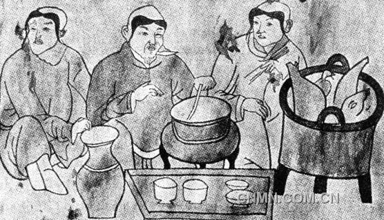 内蒙古敖汉旗康营子辽墓契丹人 涮火锅 壁画 临摹