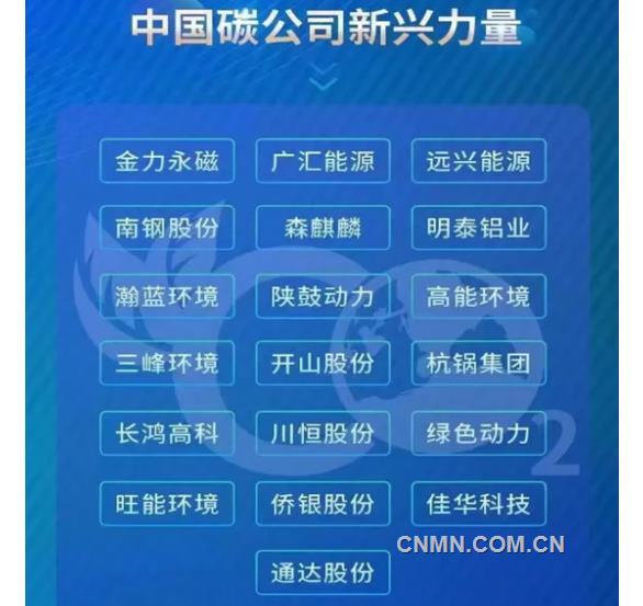 """明泰铝业入选""""2021第一届中国碳公司评选新兴力量"""""""