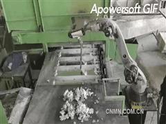 铝电解铝液铸模智能打渣机器人来啦!